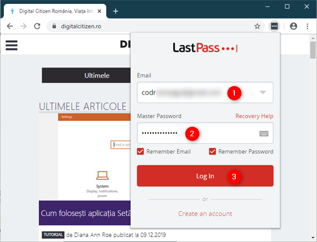 Autentificarea în LastPass