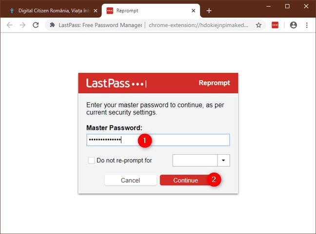 Confirmarea identității tale prin reintroducerea parolei de LastPass
