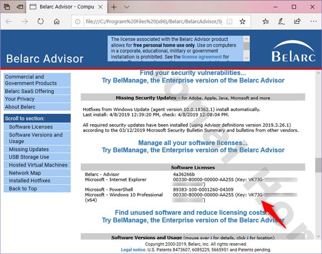 Raport Belarc Advisor, inclusiv numărul serial al Windows-ului