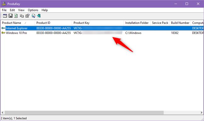 ProduKey îți arată care este serialul sistemului tău Windows