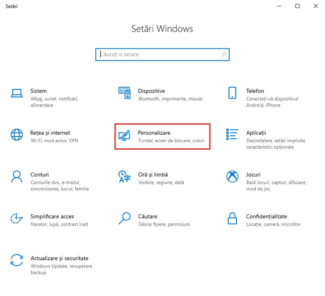 Aplicația Setări din Windows 10