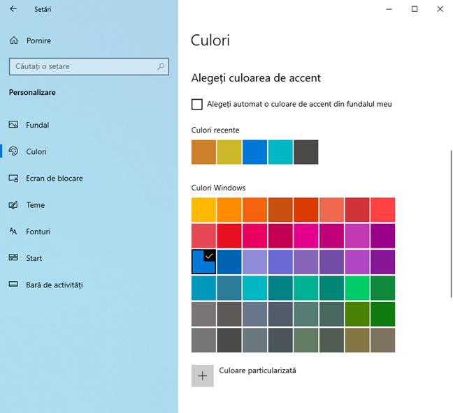 Alege culoarea de accent folosită de Windows 10