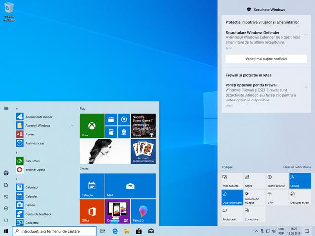 Meniul Start și Centrul de Acțiune, în Modul Luminos din Windows 10