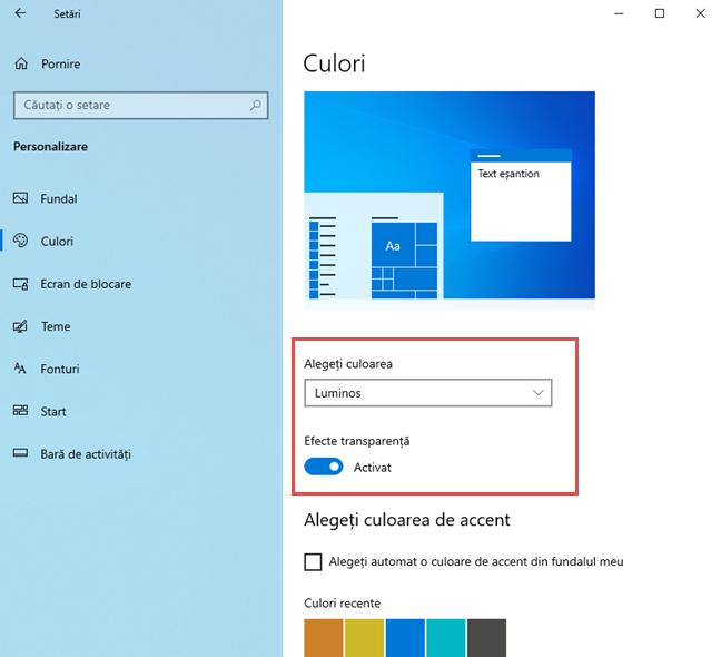Alege Modul Luminos în Windows 10