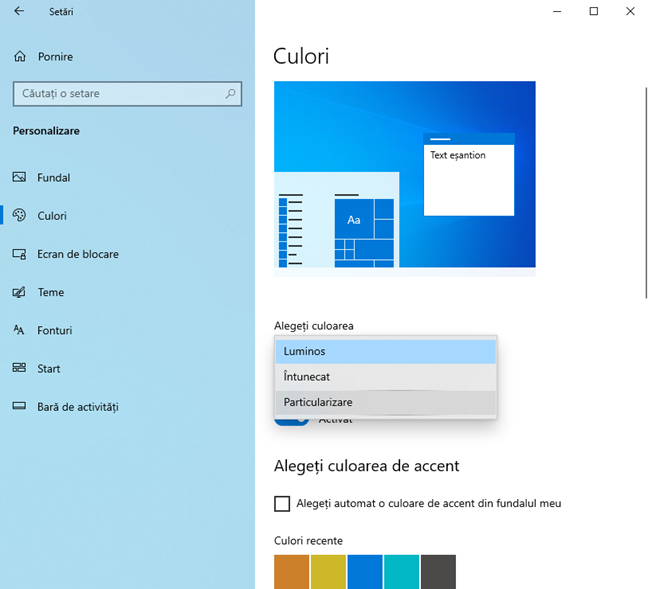 Dezactivarea Modului Luminos în Windows 10