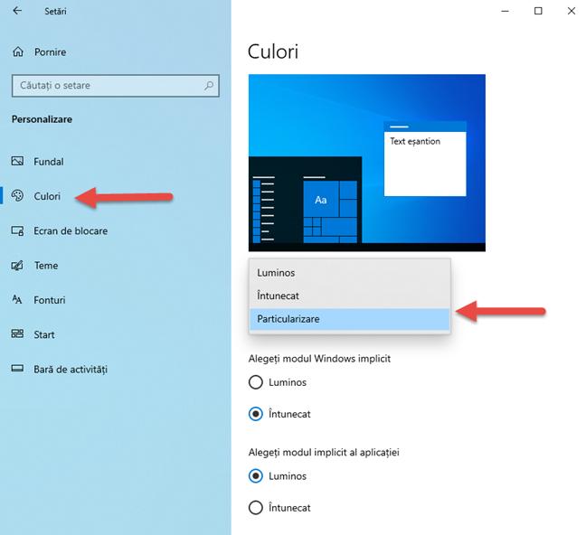 Culorile utilizate în Windows 10