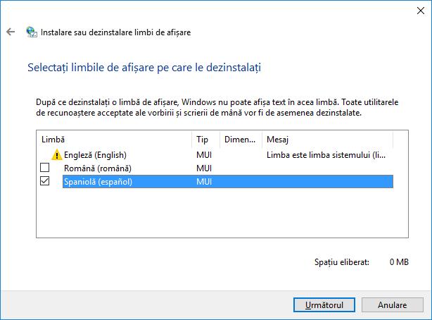 Dezinstalare, limbi, afisare, Windows