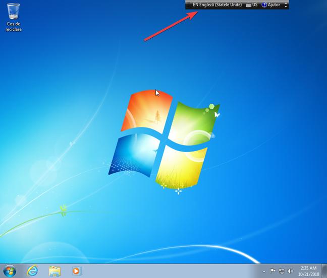 Bara lingvistică flotantă în Windows 7