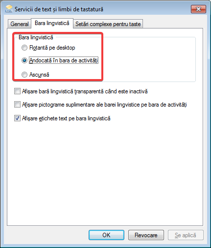 Opțiunile barei lingvistice în Windows 7