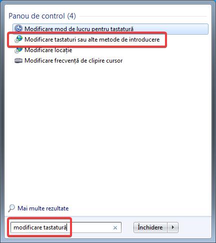 Căutarea opțiunilor pentru tastatură în Windows 7