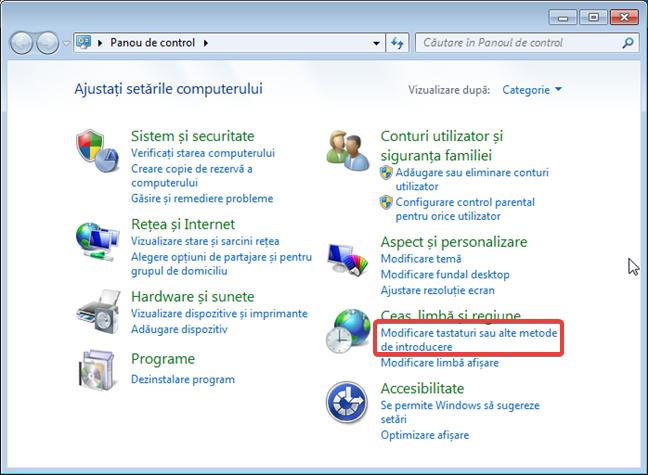 Gestionarea limbilor pentru tastatură în Panoul de control din Windows 7