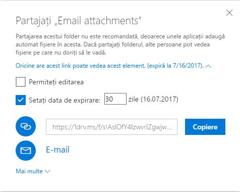 OneDrive, link, legatura, temporar, partajare
