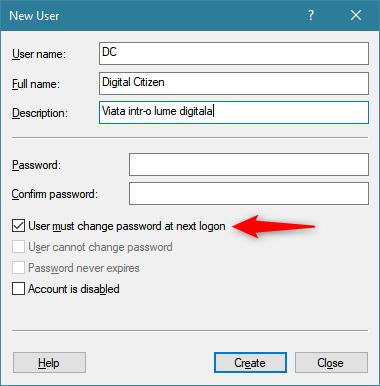 Opțiunea de a cere utilizatorului să creeze o parolă la prima conectare