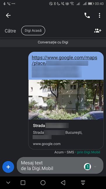 Locație trimisă în Messages