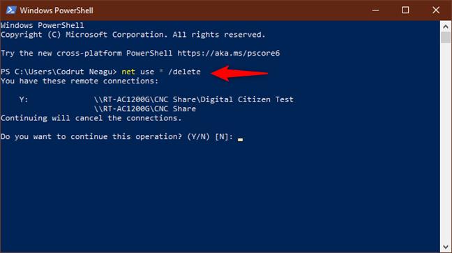 Executarea comenzii net use * /delete șterge toate unitățile mapate din rețea