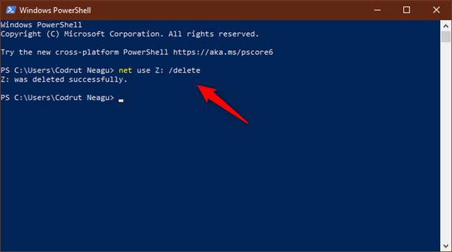Executarea comenzii net use /delete pentru a șterge o unitate de disc din rețea
