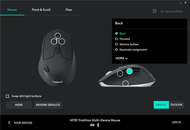 Setările disponibile pentru mouse-ul Logitech M720 Triathlon