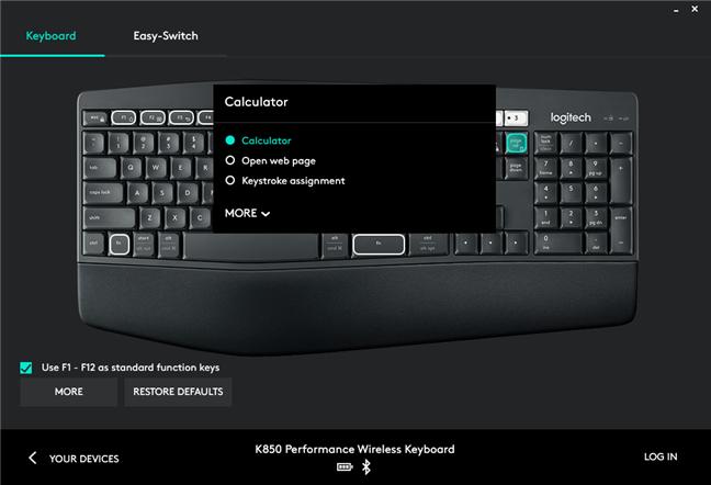 Setările disponibile pentru tastatura Logitech K850 Performance