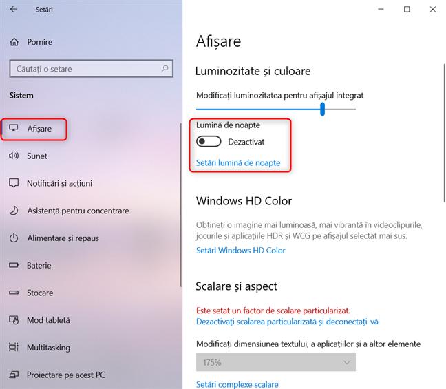 Unde găsești Lumina de noapte în Windows 10