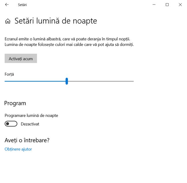 Configurează Lumina de noapte în Windows 10