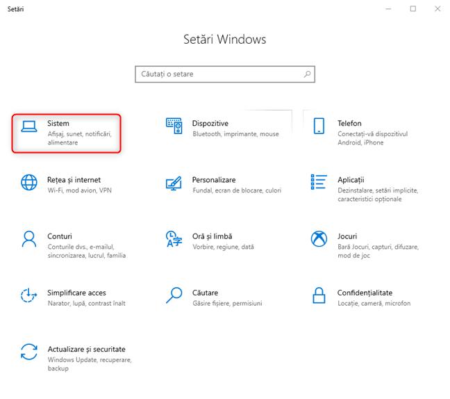 Setări Windows 10: Mergi la Sistem