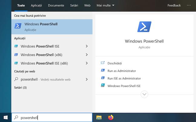 Deschide PowerShell din bara de activități