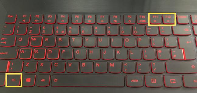 Tastele folosite la combinațiile care schimbă luminozitatea pe o tastatură Lenovo