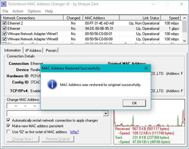 Resetarea adresei MAC în Windows