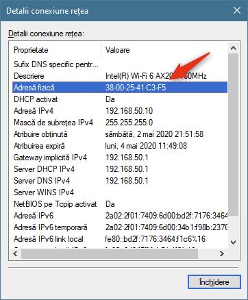 Adresa fizică este adresa MAC a plăcii de rețea