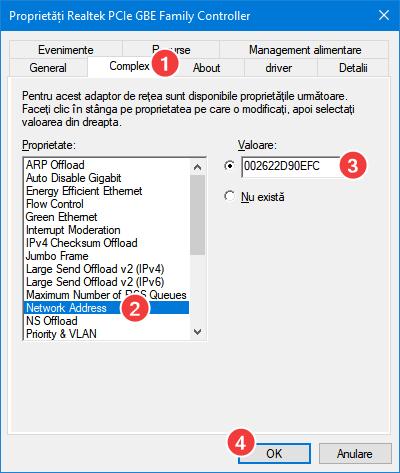 Setează o nouă adresă MAC pentru adaptorul tău de rețea