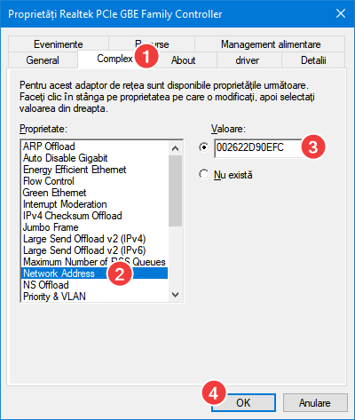 Introducerea valorii noi pentru adresa MAC
