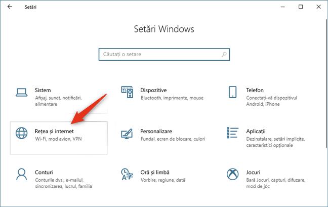 Rețea și internet în Setările Windows 10