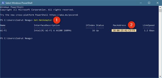 Identifică adresa MAC cu comanda Get-NetAdapter în PowerShell
