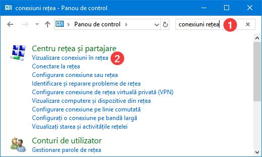 Caută și deschide conexiuni în rețea în Panou de control