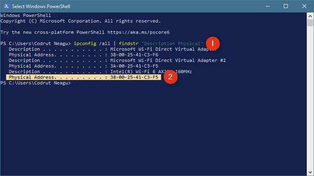 Afișează doar adresele MAC folosind comanda: ipconfig /all