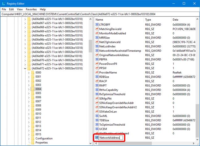 Numește NetworkAddress un text pentru adresa MAC în Registry Editor