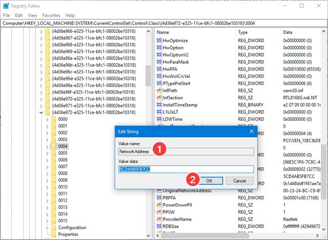 Setează o nouă adresă MAC în Registry Editor
