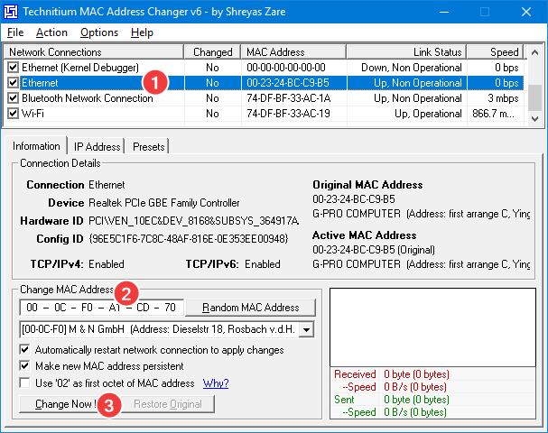 Setează o nouă adresă MAC folosind Technitium MAC Address Changer
