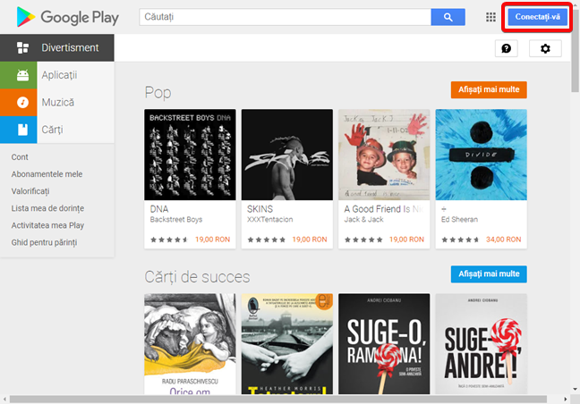 Conectează-te la Magazin Google Play într-un browser