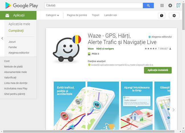 Aplicația Waze în Magazin Google Play