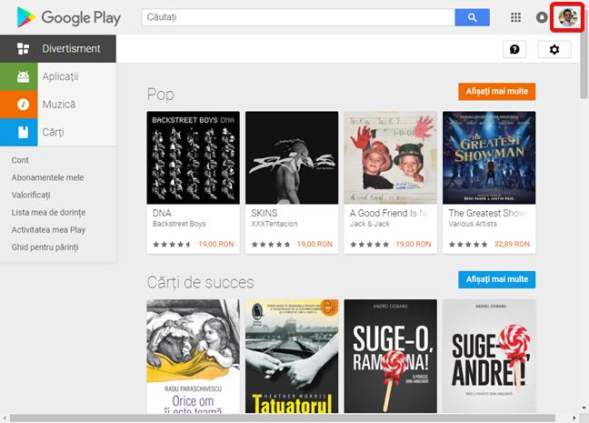 Cont Google în Magazin Google Play