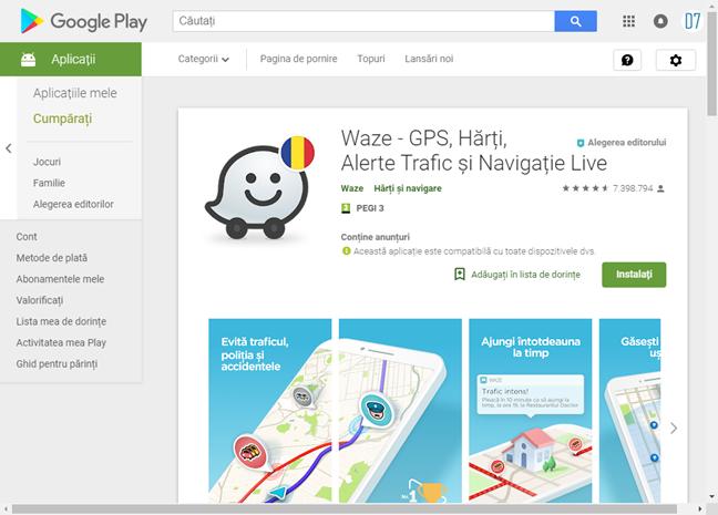 Afișează o aplicație în Magazin Google Play