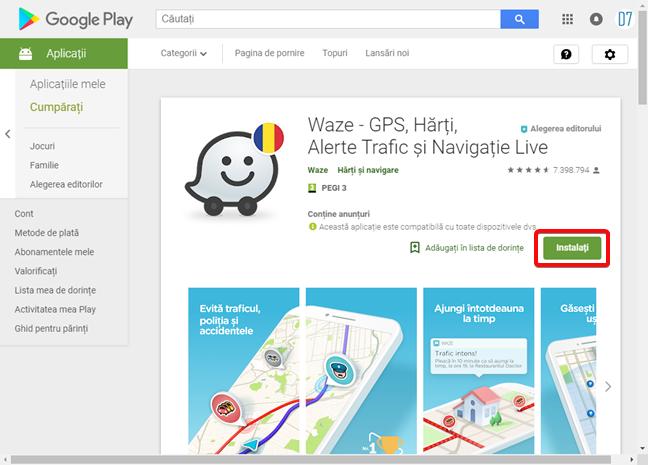 Instalează o aplicație în Magazin Google Play