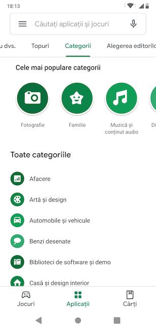 Categorii de aplicații în Google Play