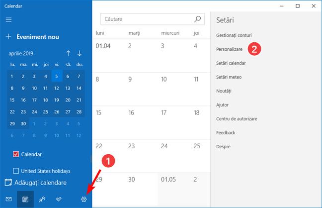 Deschide setările de Personalizare în aplicația Calendar pentru Windows 10