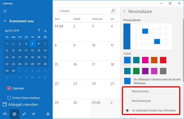 Opțiunile de mod luminos și întunecat în setările aplicației Calendar