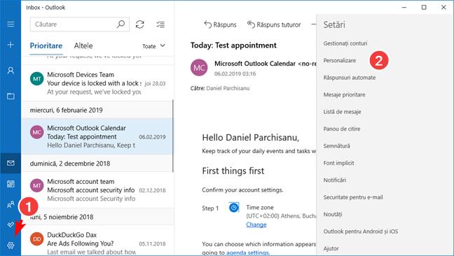 Deschide Personalizare în aplicația Mail pentru Windows 10