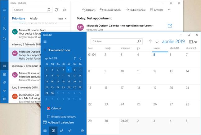 Aplicațiile Mail și Calendar în Windows 10