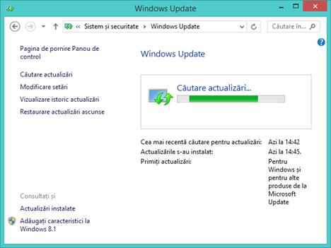Windows Update, actualizari, instalate, ascunse