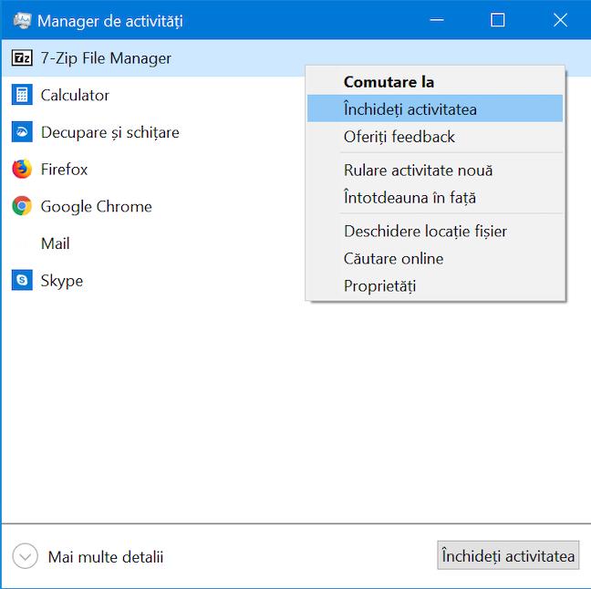 Închide aplicații din vizualizarea compactă a Managerului de activități